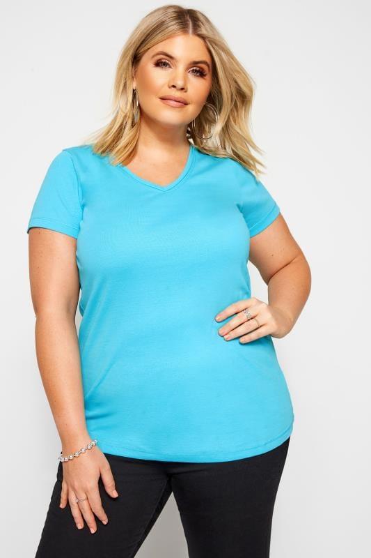 Plus Size Basic T-Shirts & Vests Aqua Blue V-Neck Plain T-Shirt
