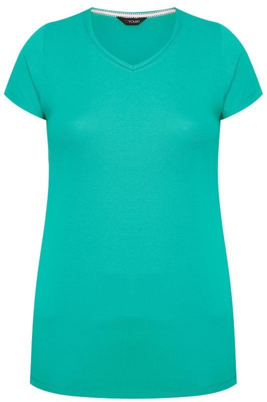 Jade Green V-Neck Plain T-Shirt