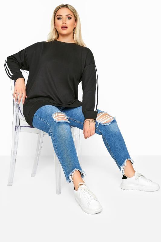 Black Side Stripe Varsity Sweatshirt