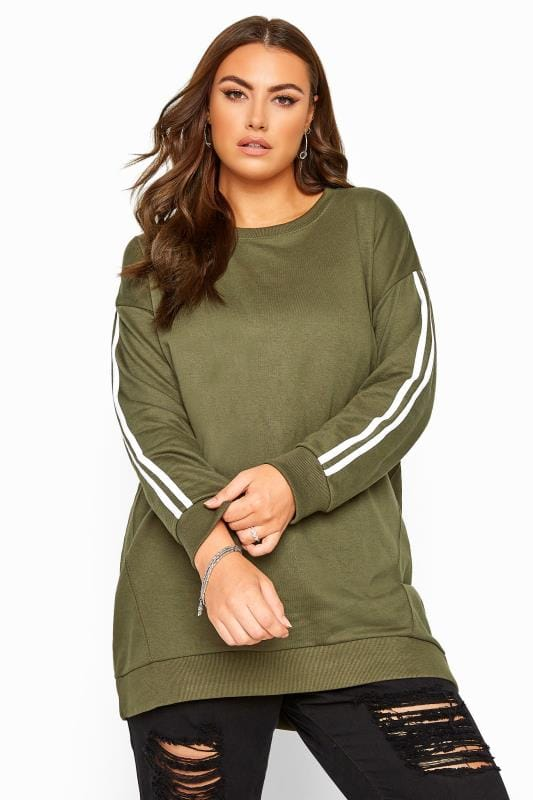 Plus Size Sweatshirts Khaki Side Stripe Varsity Sweatshirt