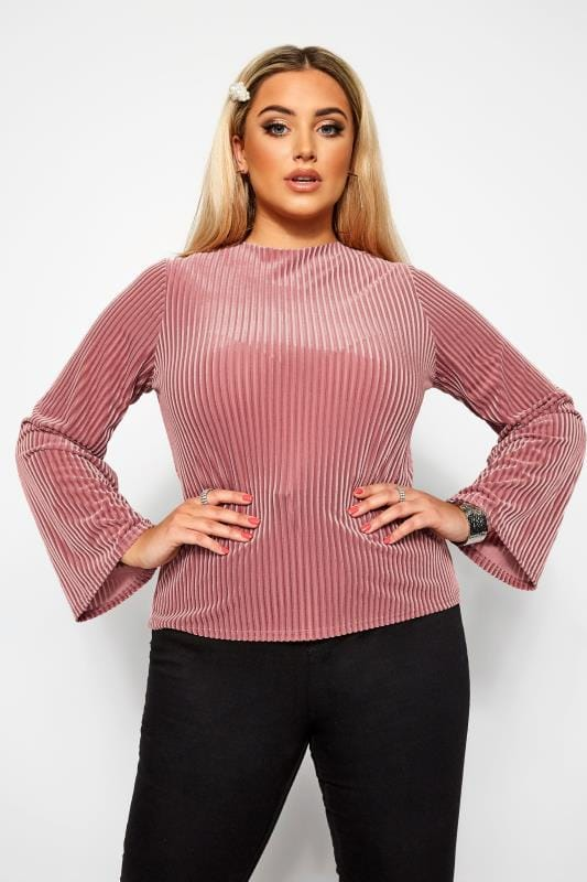 Große Größen Party-Oberteile LIMITED COLLECTION Rippen-Top aus Velours - Rosa