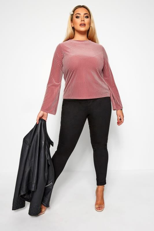Plus Size Party Tops LIMITED COLLECTION Blush Pink Velour Ribbed Top