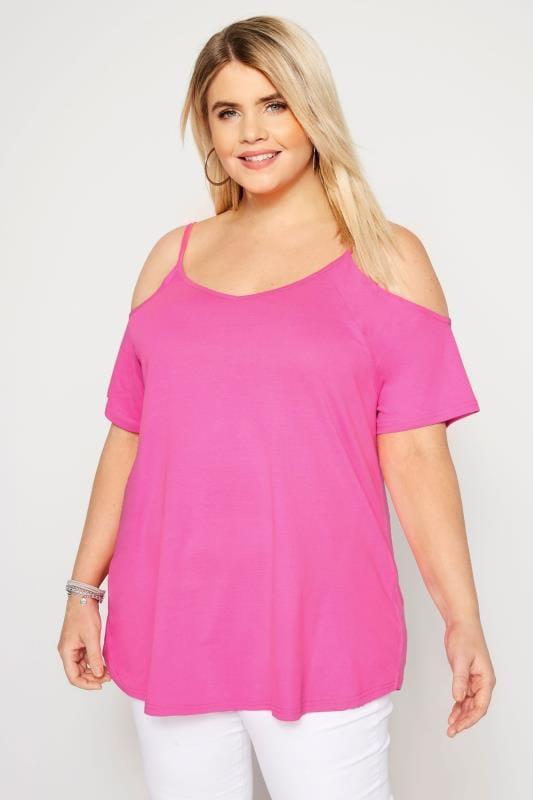 Vibrant Pink Cold Shoulder Top