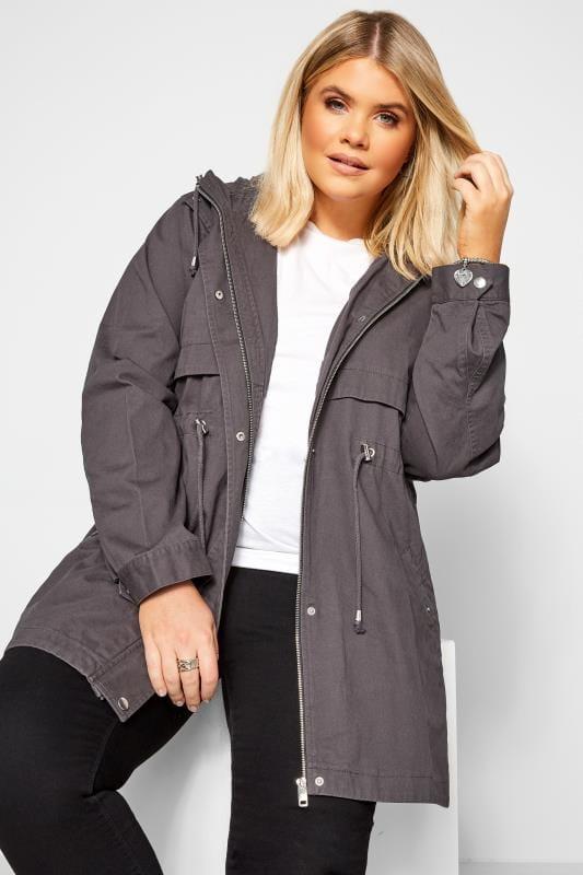 Plus Size Jackets Charcoal Grey Zip Through Jacket