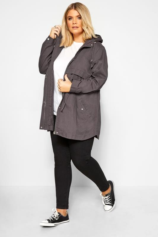 Plus Size Jackets Charcoal Grey Zip Through Jacket