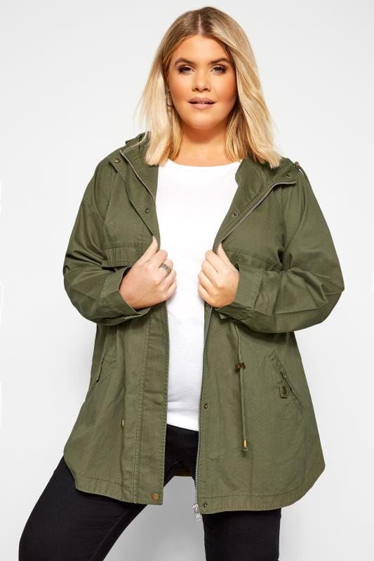 Jackets Khaki Zip Through Jacket