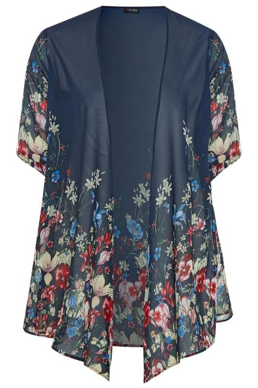Plus Size Kimonos Navy Floral Waterfall Chiffon Cover Up