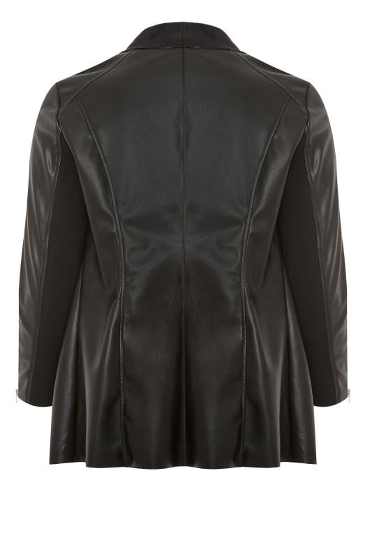 Black PU Leather Waterfall Jacket