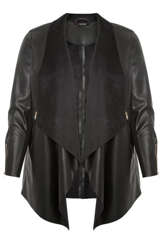 Plus Size Leather Look Jackets Black PU Leather Waterfall Jacket