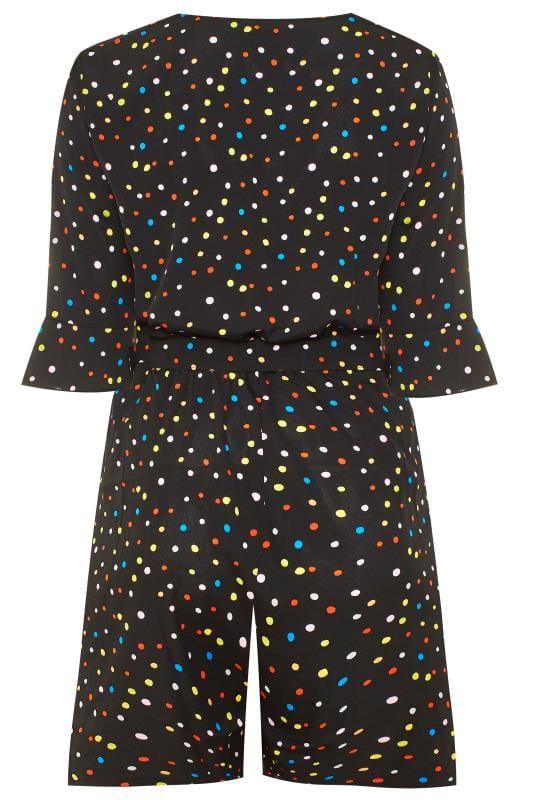 WEDNESDAY'S GIRL Black Multi Spot Belted Playsuit