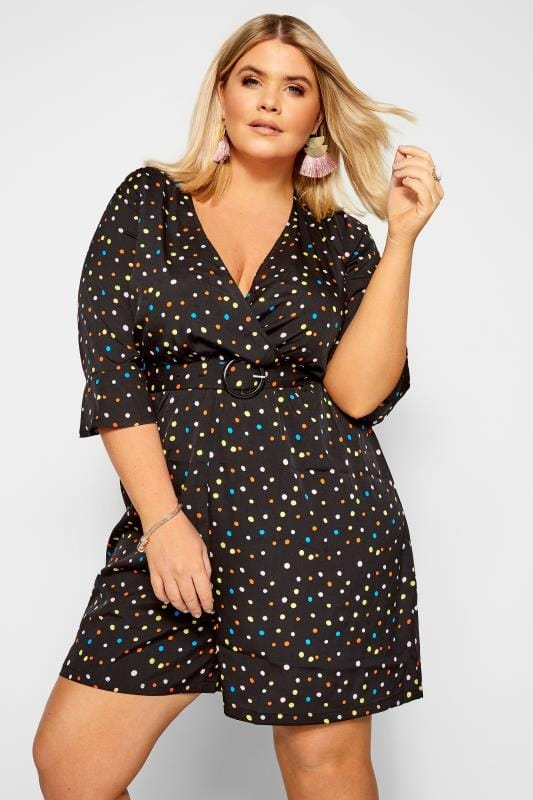 Plus Size Jumpsuits WEDNESDAY'S GIRL Black Multi Spot Belted Playsuit