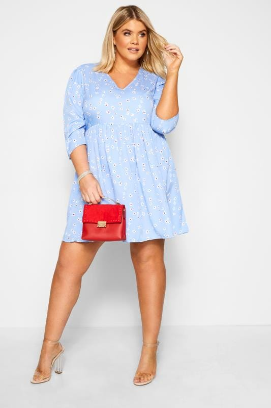 Plus Size Casual Dresses WEDNESDAY'S GIRL Blue Floral Smock Dress