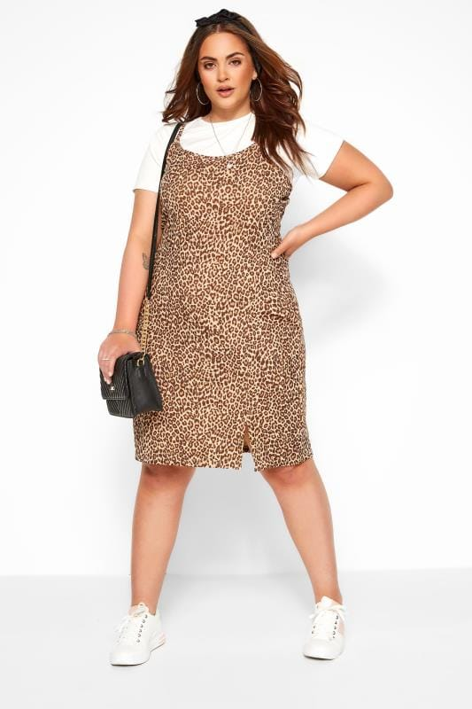 Casual Dresses Tallas Grandes WEDNESDAY'S GIRL Brown Leopard Print 2 in 1 T-Shirt Dress
