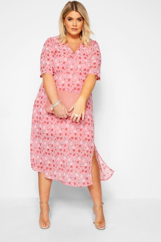 Plus Size Casual Dresses WEDNESDAY'S GIRL Pink Floral Chiffon Tea Dress