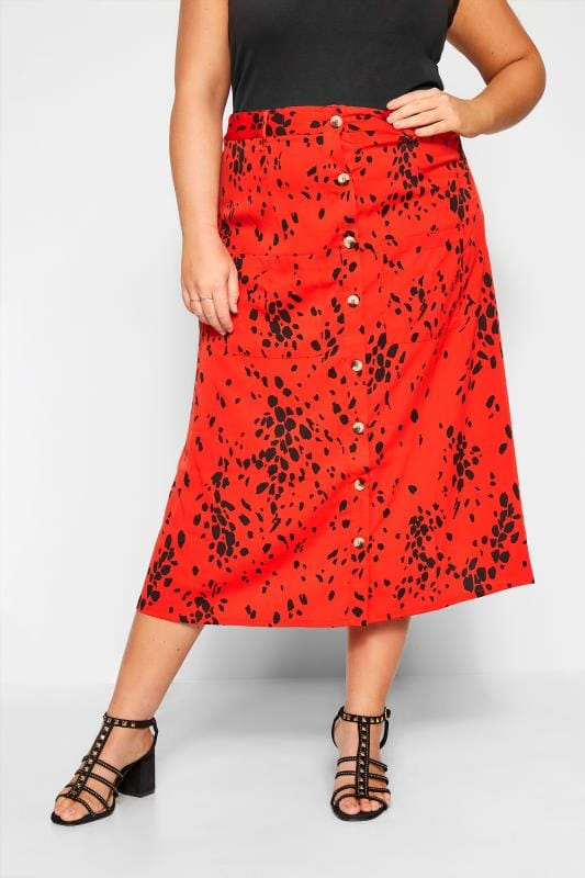 Plus-Größen Maxi Skirts WEDNESDAY'S GIRL Red Spotted Maxi Skirt