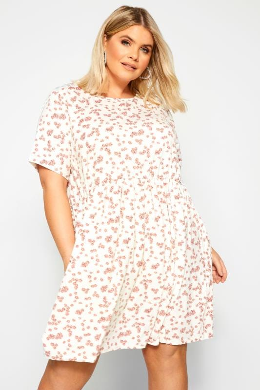 Plus Size Floral Dresses WEDNESDAY'S GIRL White & Pink Daisy Smock Dress