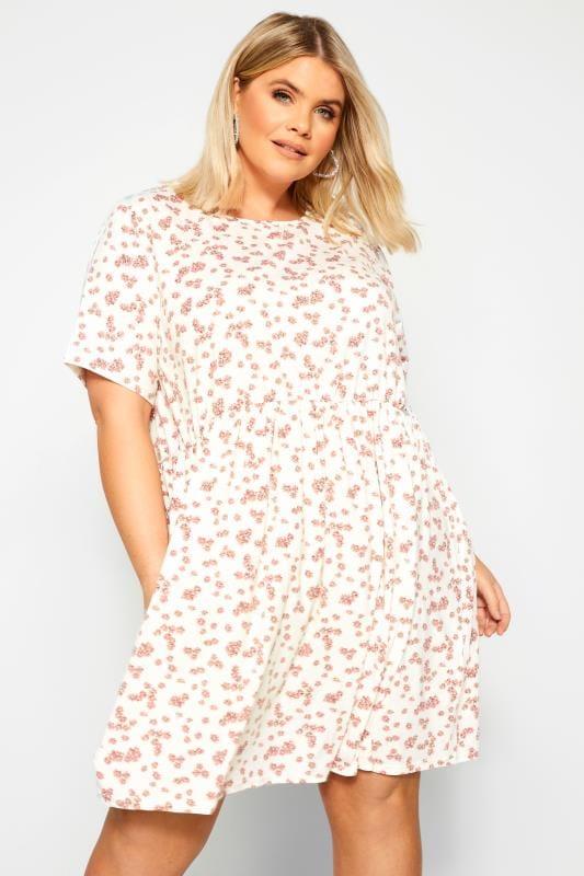 WEDNESDAY'S GIRL White & Pink Daisy Smock Dress