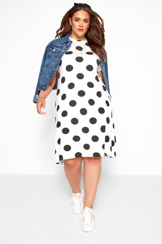 Swing Dresses  WEDNESDAY'S GIRL White Polka Dot Swing Dress