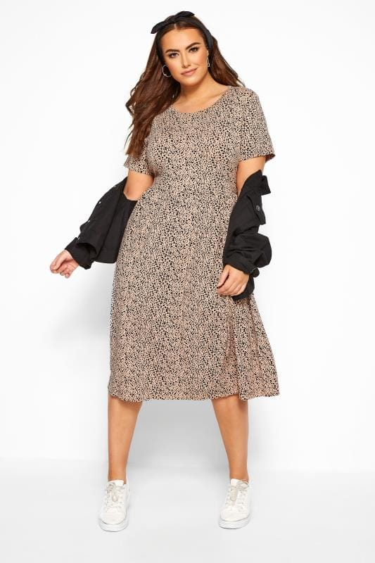 Plus Size Casual / Every Day WEDNESDAY'S GIRL Beige Dalmatian Spot Dress