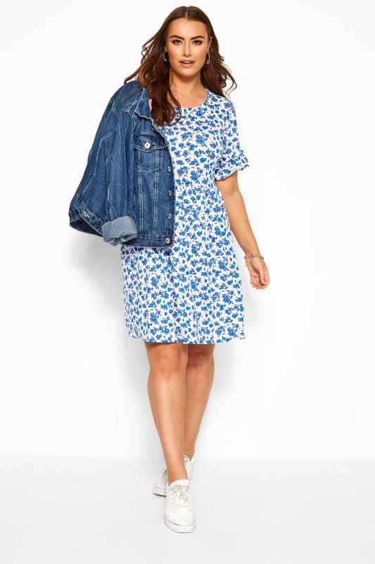 Casual / Every Day WEDNESDAY'S GIRL White & Blue Floral Smock Dress