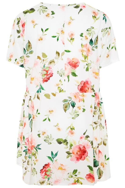YOURS LONDON White Floral Peplum Blouse