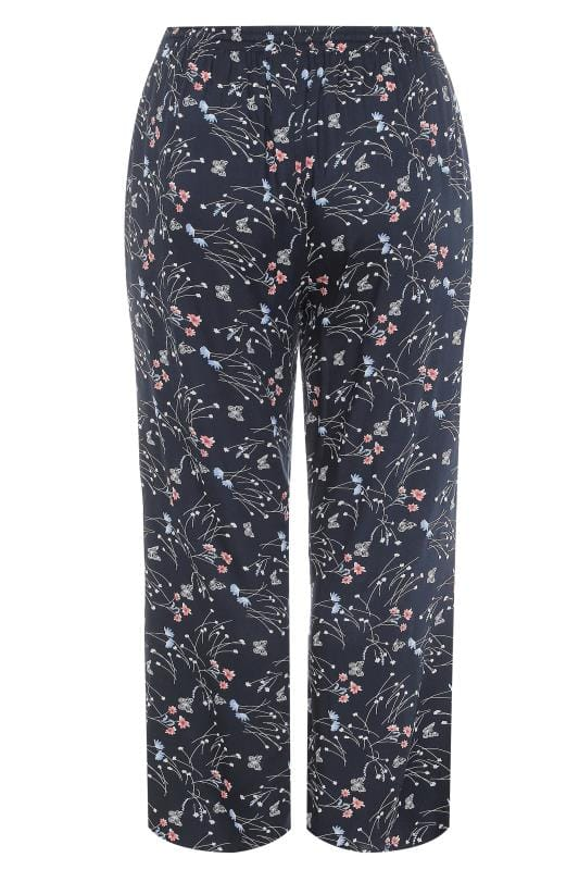 Navy Floral Wide Leg Trousers