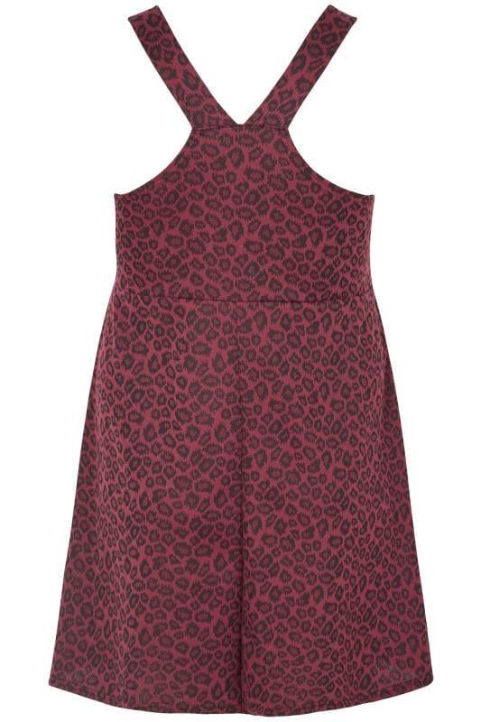 Wine Red Animal Jacquard Pinafore Dress