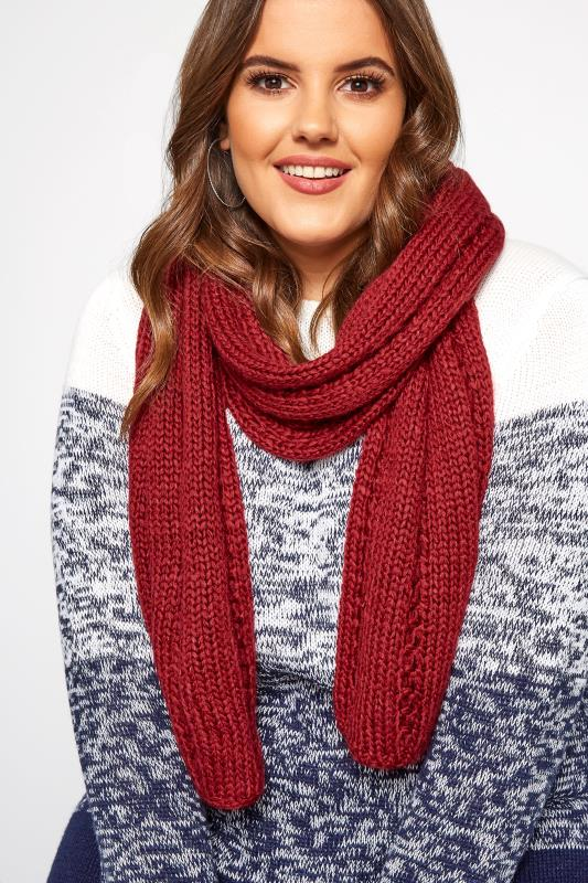 Plus Size Scarves Dark Wine Knitted Scarf