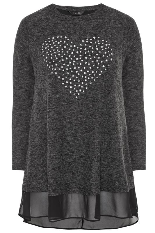 Dzianinowe topy i swetry dla puszystych Charcoal Grey Embellished Heart Double Layered Knitted Top