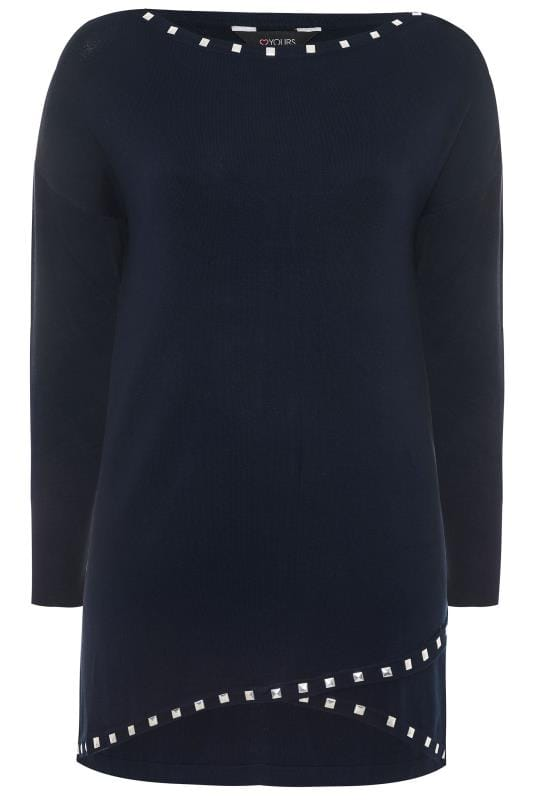 Navy Stud Trim Longline Jumper