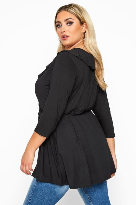 LIMITED COLLECTION Black Frill Jersey Wrap Top