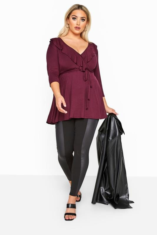 LIMITED COLLECTION Plum Frill Jersey Wrap Top