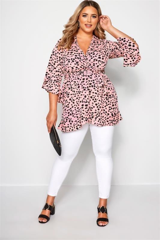 Plus Size Blouses Pink Dalmatian Print Wrap Top
