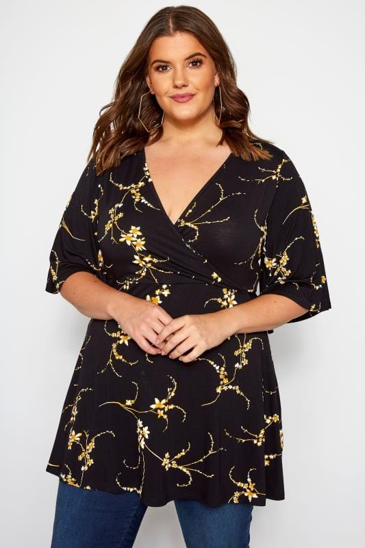 Floral Tops Grande Taille Black & Mustard Floral Print Wrap Top