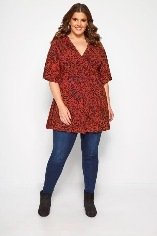 Wickelbluse mit Animal-Muster - Rost