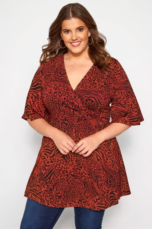 Plus Size Jersey Tops Rust Mixed Animal Print Wrap Top