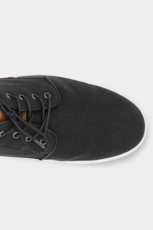 D555 Black Perforated Lace Up Trainers