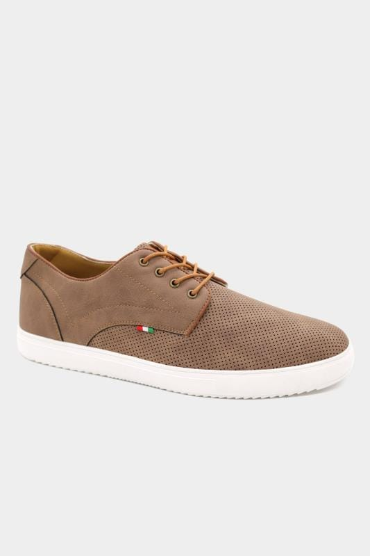 Plus Size Footwear D555 Brown Perforated Lace Up Trainers