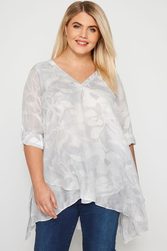 White Abstract Print Layered Blouse