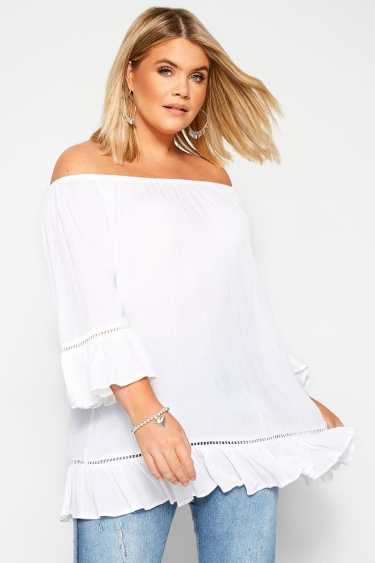 Plus Size Bardot & Cold Shoulder Tops White Bardot Gypsy Top