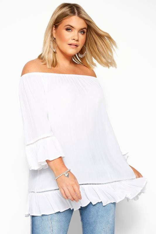 White Bardot Gypsy Top