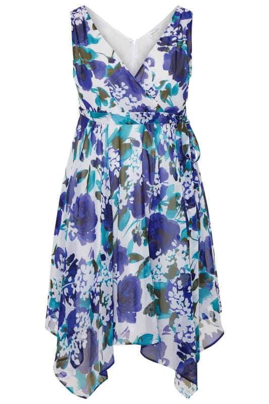 YOURS LONDON Blue Floral Hanky Hem Dress