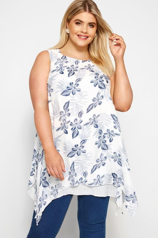 Plus Size Dipped Hem Tops White & Blue Floral Layered Blouse