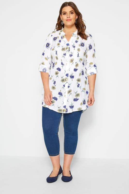 White & Blue Floral Pintuck Blouse