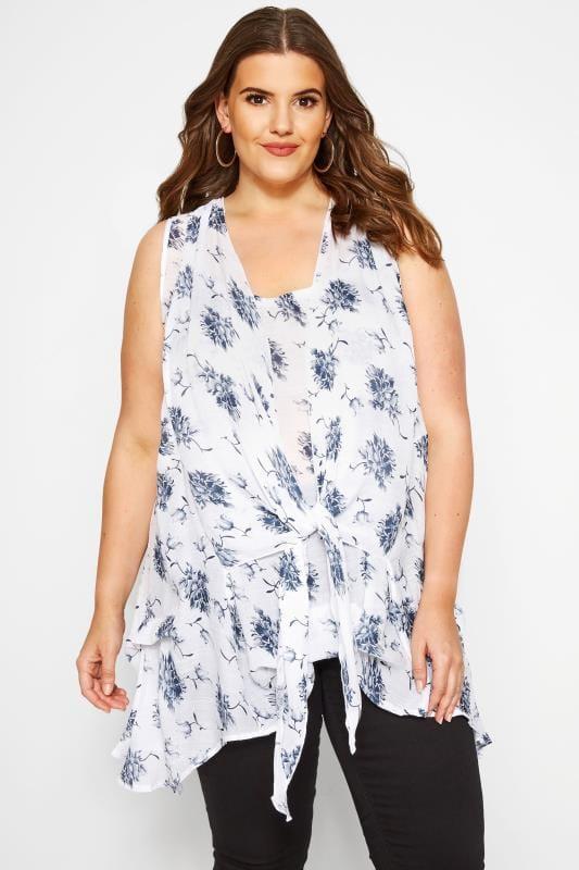 Plus Size Blouses & Shirts White & Blue Floral Tie Front Blouse