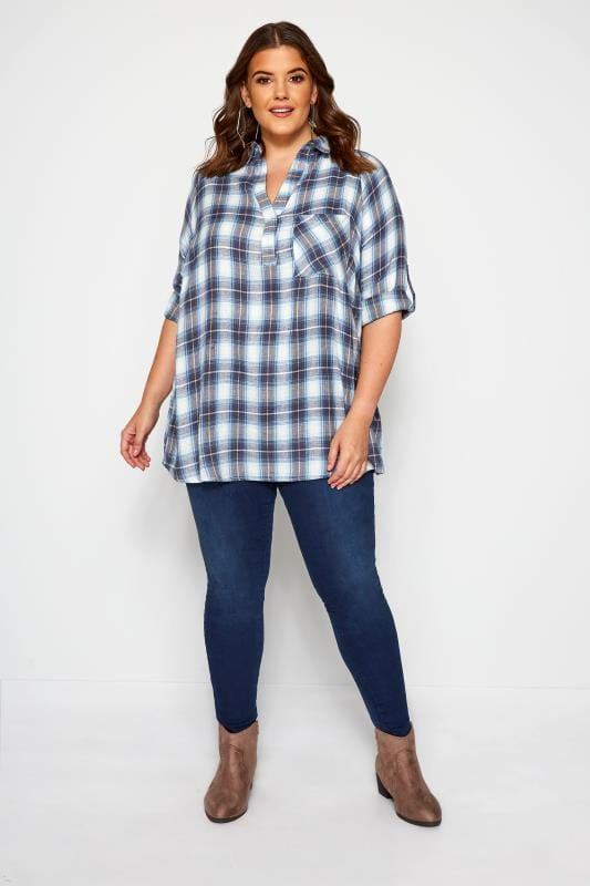 White & Blue Overhead Check Shirt