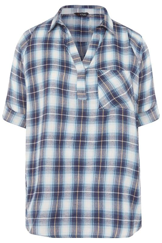 White & Blue Overhead Check Shirt
