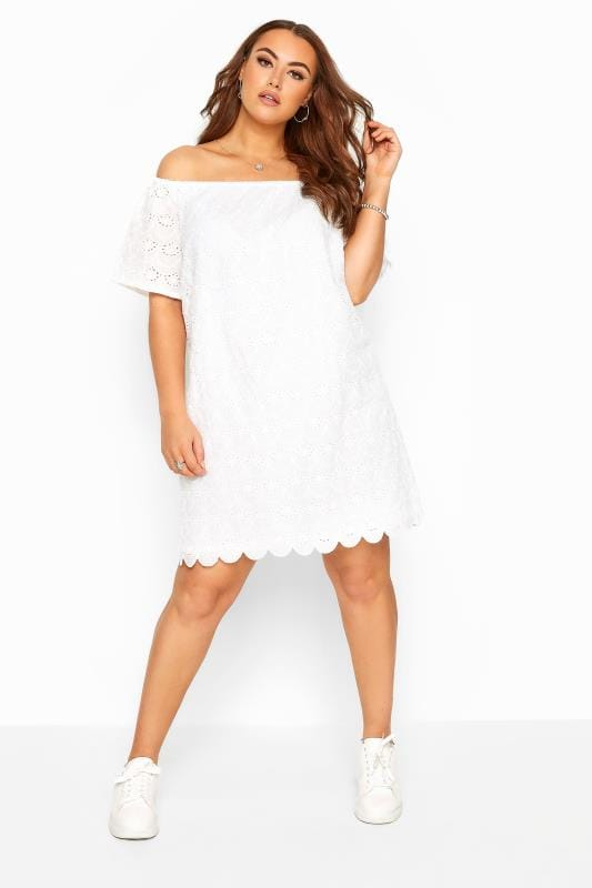 Plus Size Casual Dresses White Broderie Anglaise Scalloped Hem Bardot Dress