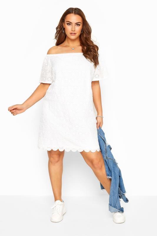 White Broderie Anglaise Scalloped Hem Bardot Dress