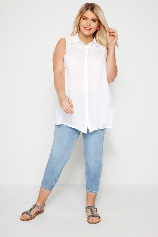 Bluse mit Lochstickerei - Weiß